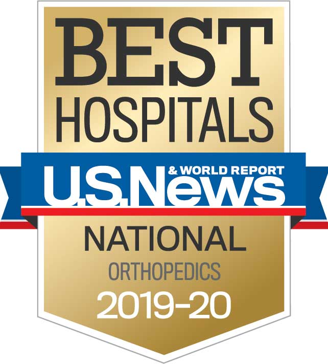 Banner image of U.S. News & World Report Best Hospitals – Ranked nationally in Orthopedics Specialty for 2020-2021.