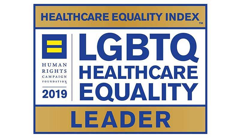 Human Rights Campaign logo: Healthcare Equality Index Leader for LGBTQ Healthcare Equality 2019.