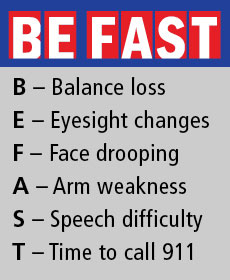 BE FAST: B - Balance loss. E-Eyesight changes. F-Face drooping. A-Arm weakness. S-Speech difficulty. T-Time to call 911
