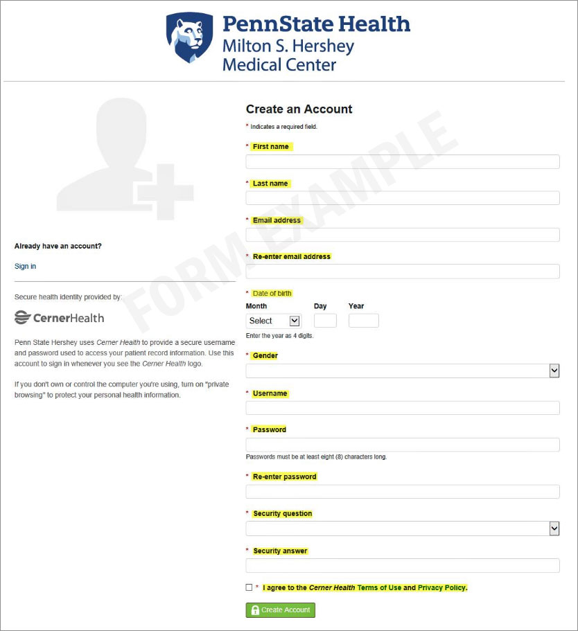 Patient Portal form example to create an account
