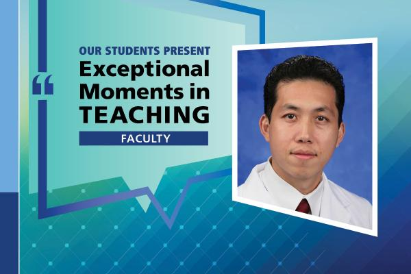 "An Illustration shows Dr. Jerome Lyn-Sue's mugshot on a background with the words ""OUR STUDENTS PRESENT Exceptional Moments in Teaching faculty."""