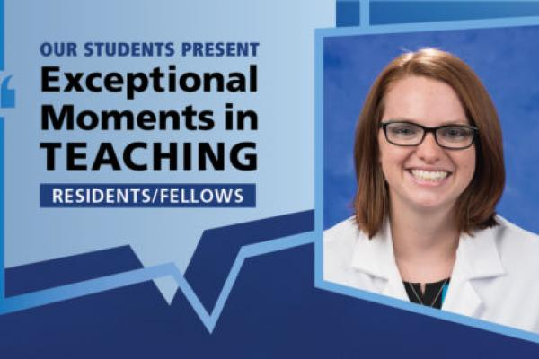 "Image shows a portrait of Dr. Nicolle Bashall next to the words ""Our students present Exceptional Moments in Teaching Residents/Fellows."""