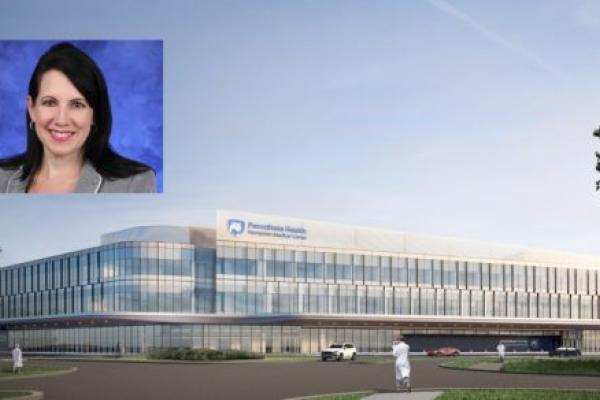 A portrait of Aimee Hagerty is superimposed over a rendering of the Hampden Medical Center.