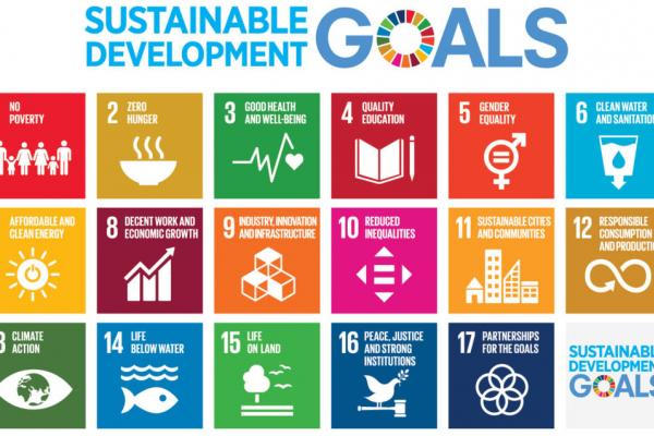 A poster for the United Nations Sustainable Development Goals shows 17 squares, each with one of the goals listed and an icon. The goals are No Poverty; Zero Hunger; Good Health and Well-Being; Quality Education; Gender Equality; Clean Water and Sanitatio