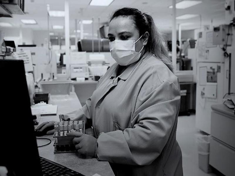 scientist with mask