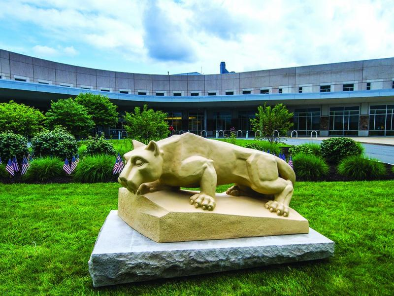 A nittany lion statue stands in front of the PSH St. Joseph Medical Center.